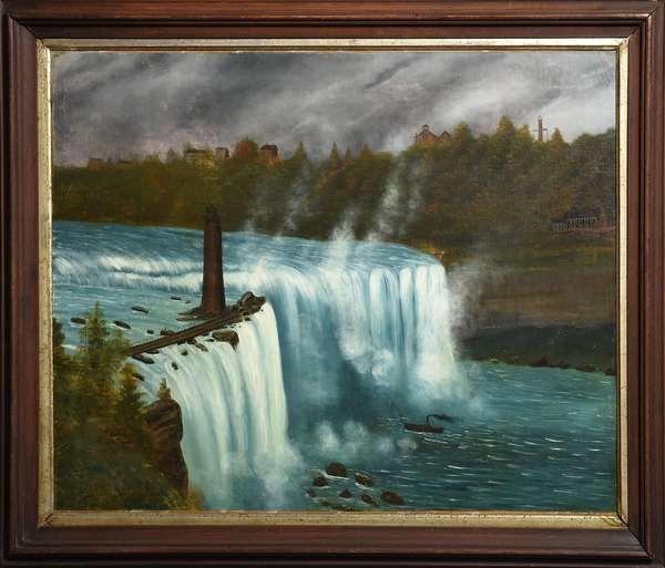 19th C. primitive oil on canvas (laid on board) Niagara Falls, 22