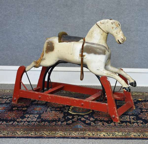Early paint decorated hobby horse on stanchion, original paint, 45
