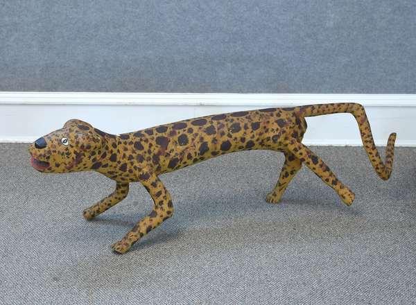Carved and painted Folk Art leopard figure, school of Felipe Archuleta, 54