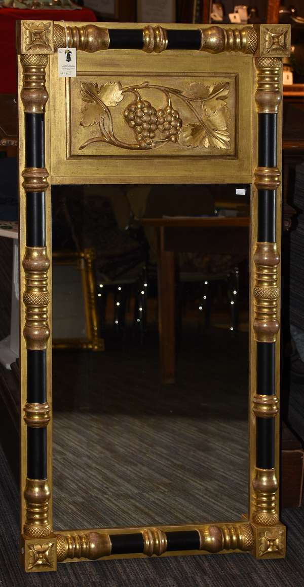 Fine 19th C. large carved and gilt Federal wall mirror with applied grape and vines upper tablet, 46