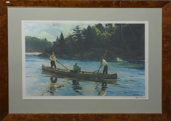 Pencil signed Ogden Pleissner fishing print, printed for Angler's Club of N.Y., Ltd. Ed. of 300, 18.5