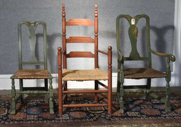 Three 18th C. style chairs, including two Spanish foot examples in green stain, along with red stained Pilgrim chair, three pieces