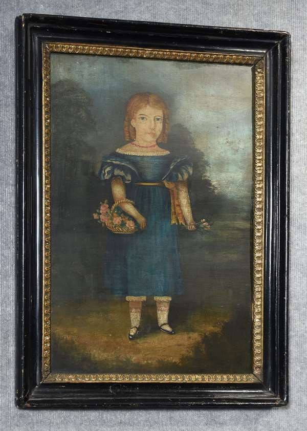 19th C. full length oil portrait on wood panel, young girl with flowers, 20