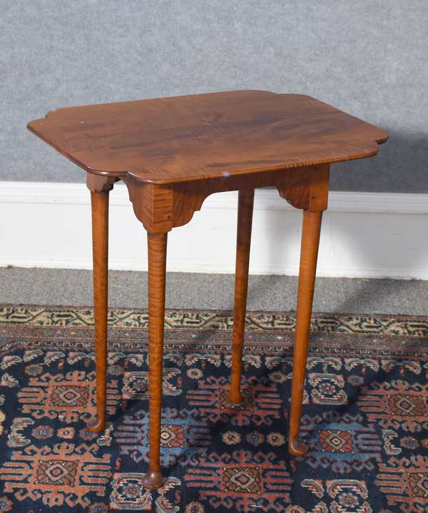 Labeled Eldred Wheeler tiger maple Queen Anne style button foot tap table, 24