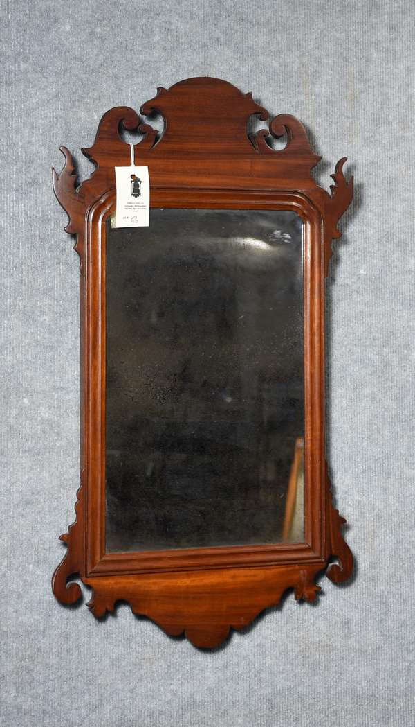 Good 18th C. mahogany Chippendale wall mirror retaining original