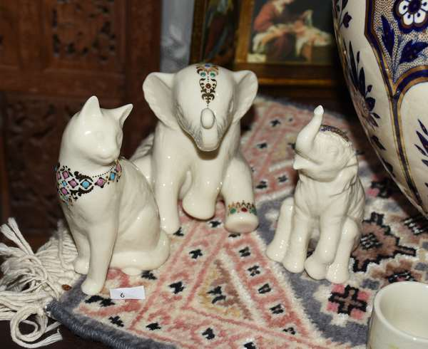 Three assorted china animals; two elephants; one cat (900-4)