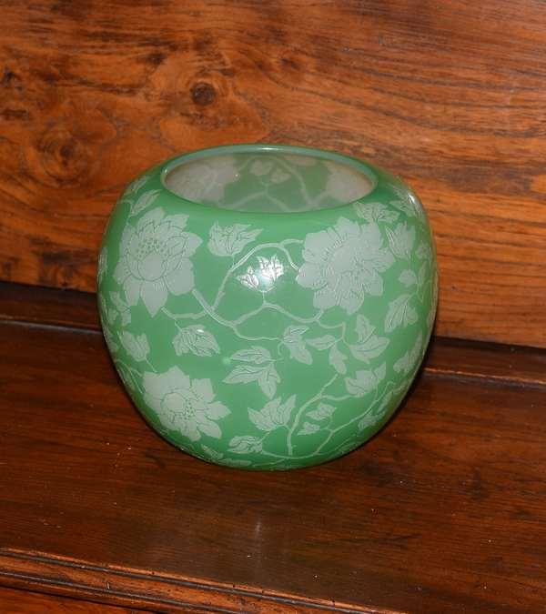 Steuben acid cut back green colored vase, flowers, 7