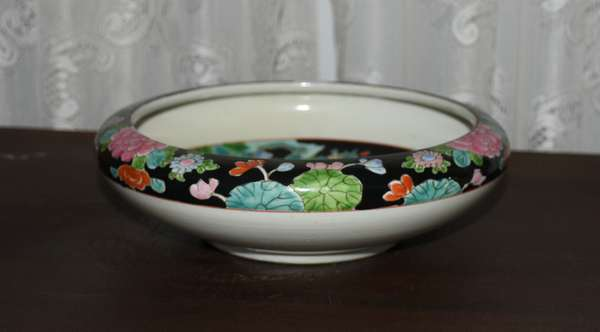 Round bowl black lily pad decoration (900-15)