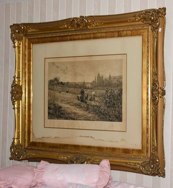 Etching farm scene in ornate gold frame (900-17)