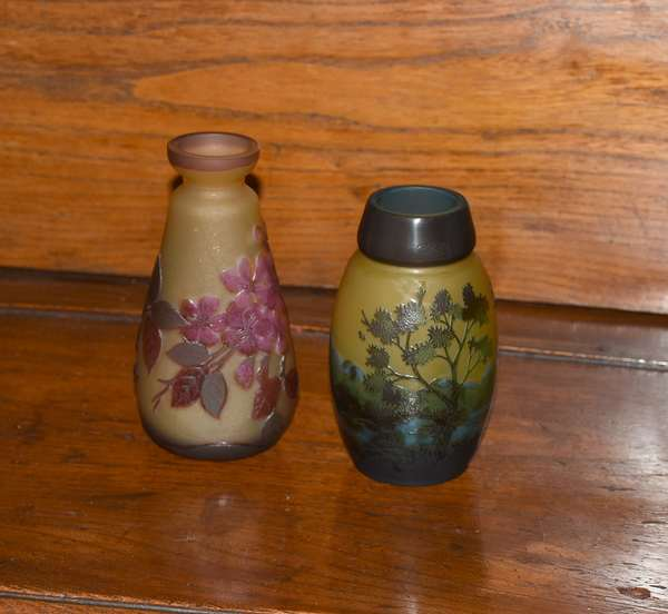 Two Cameo glass vases, signed Galle, 5.75