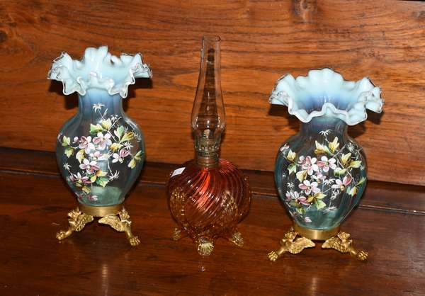 Victorian glass: pair of vases with gilt bases, 8.75