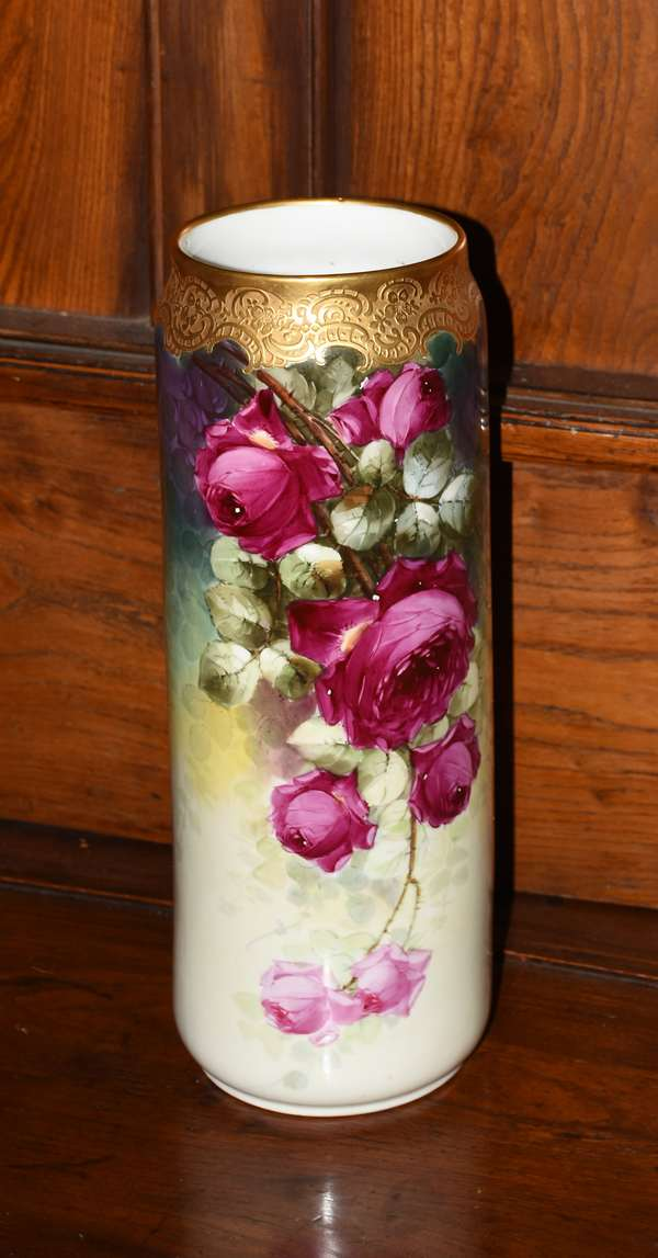 Large Limoges hand painted vase, 16.25