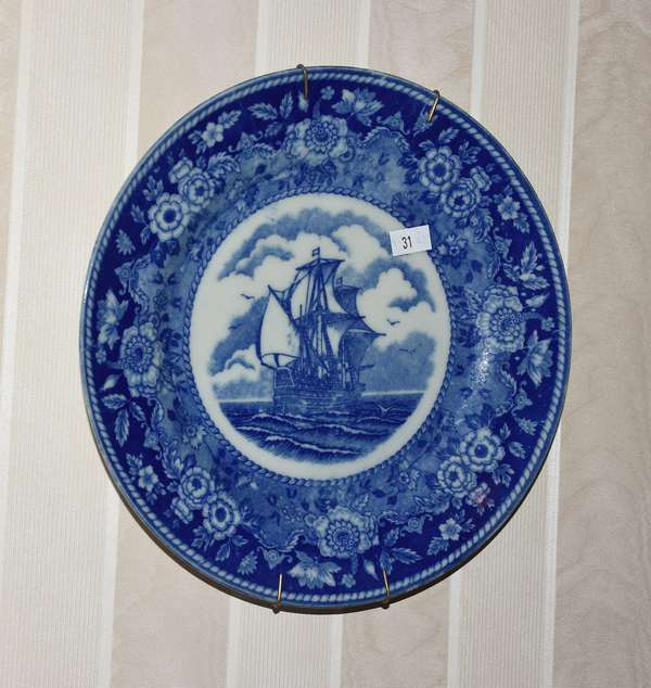 Blue hanging plate with ship (900-31)