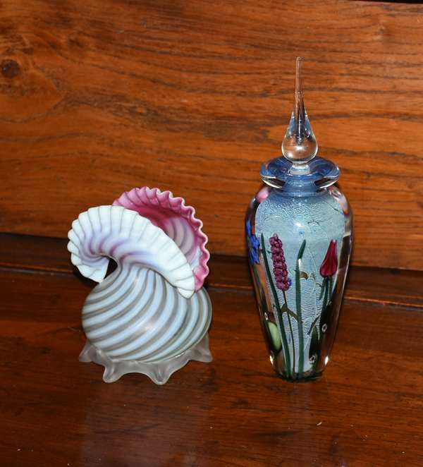 Two pieces of art glass including a ruffle glass vase and a paper weight glass vase by Doug Merritt (379-68)