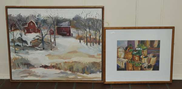 Modern painting, of farm, Cohasset, MA. , Susan P. Michelle and odd watercolor (475-26)