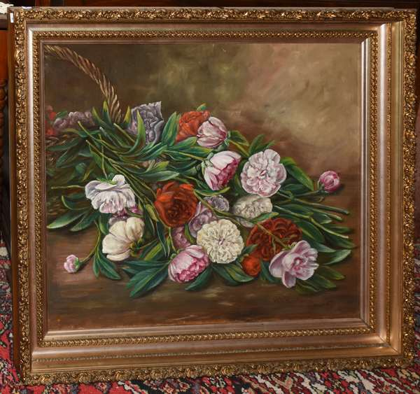 Victorian oil painting of carnations (900-56)