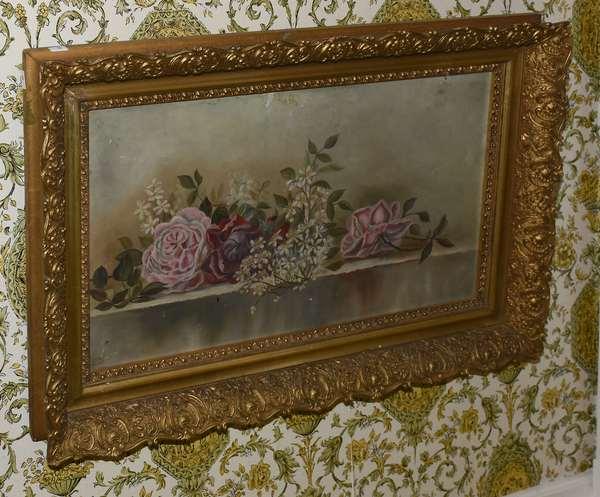 Oblong oil painting of roses (900-59)