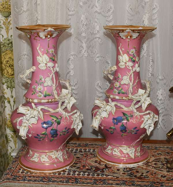 Pair of pink ground Paris porcelain vases applied canterbury bells repaired (900-67)