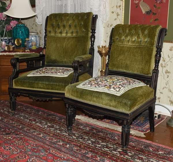PAIR AESTHETIC PERIOD LOW VICTORIAN WALNUT CHAIRS GREEN UPHOLSTERED (900-83)