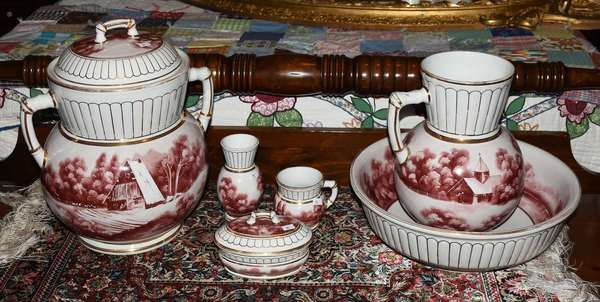 6 PC PITCHER AND BOWL WASH SET CHURCH DECORATION (900-92)