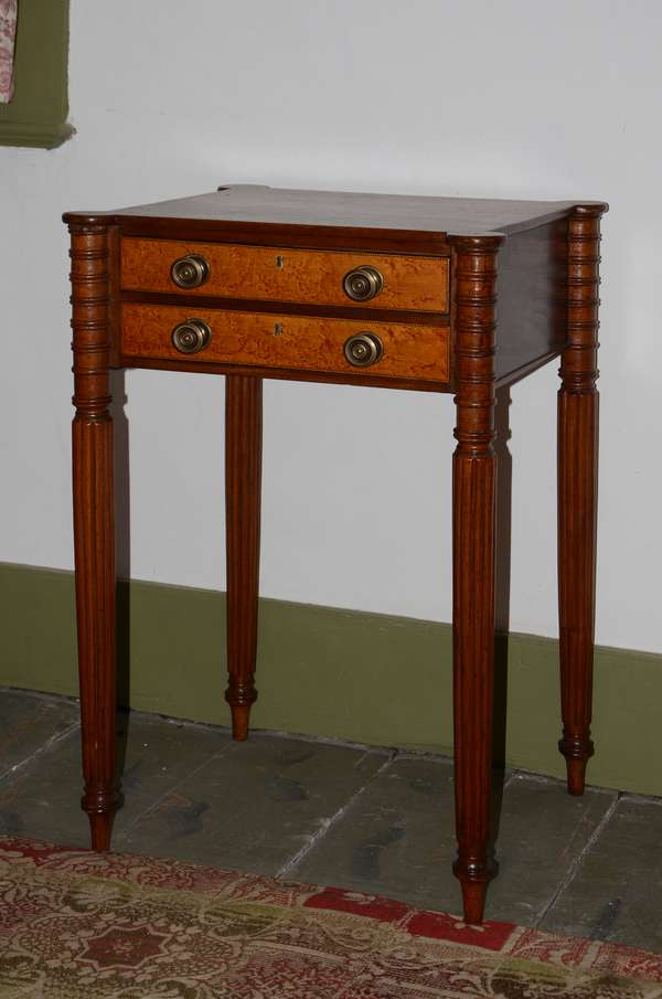 Good Federal New England mahogany cookie corner two drawer stand with birdseye maple and checkered inlay drawers, 30