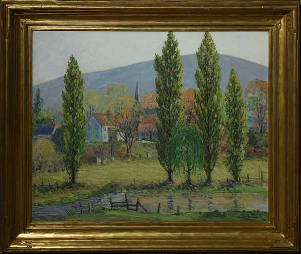 Oil, landscape, Mt. Nittany outside of State College PA., signed Emile Walters, 25