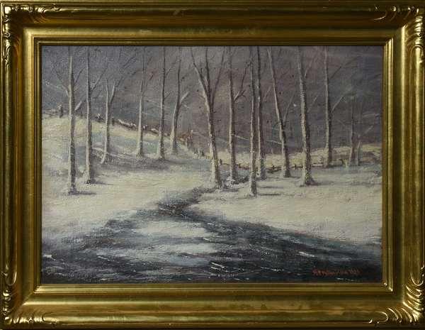 Oil on canvas, winter landscape, signed W. P. Williamson 1924, 16