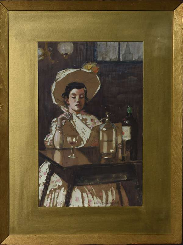 Mixed-media interior scene, young woman in white at bar, signed S.R. Burleigh, 11
