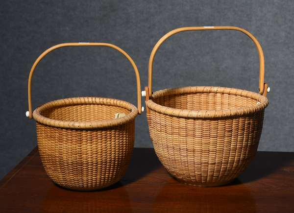 Two Nantucket made swing handled lightship baskets, larger example signed LMR, , 6