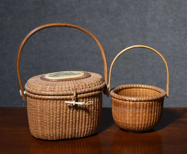 Nantucket woven lightship basket/purse made by Brooks Bros. along with a small swing handle example made by Chin Manasmontri, purse is 9.5