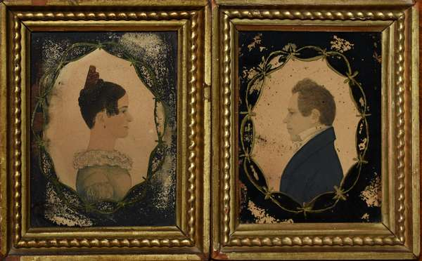 Pair of Rufus Porter miniature paintings of Martha (Baldwin) Shed and her husband Thomas Shed Tewksbury 1816, literature on reverse, directly from family descendants, in original frames, frame size 6