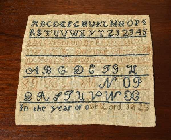 Small needlework sampler Emeline Gilkey 1823, 7.5