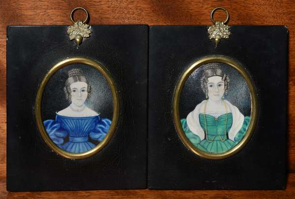 Fine pair of oval miniature paintings, early 19th C. portraits of Anna and Maria Crane (twins) 3