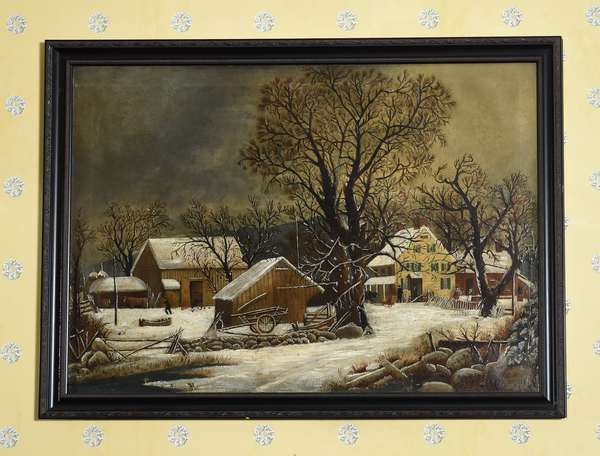 Fine Mid 19th C. American School oil on canvas winter scene farm homestead with sleigh and figures, 28
