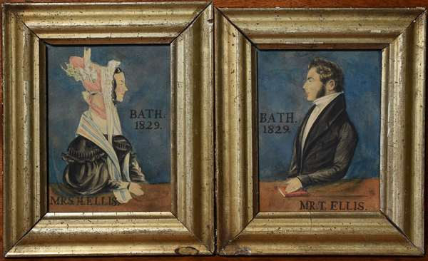 Good pair of 19th C. miniature portrait paintings of Mr. T. Ellis and Mrs. H. Ellis, Bath 1829, 4.5