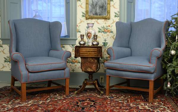 Two similar Period country Chippendale wing chairs with like new upholstery, blue with red trim