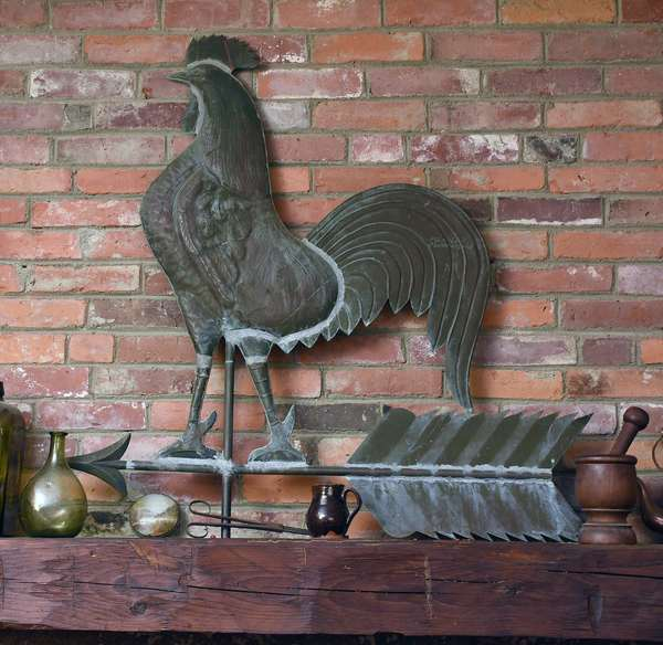19th C. copper rooster weathervane on arrow, from a barn in Piermont, NH. 35