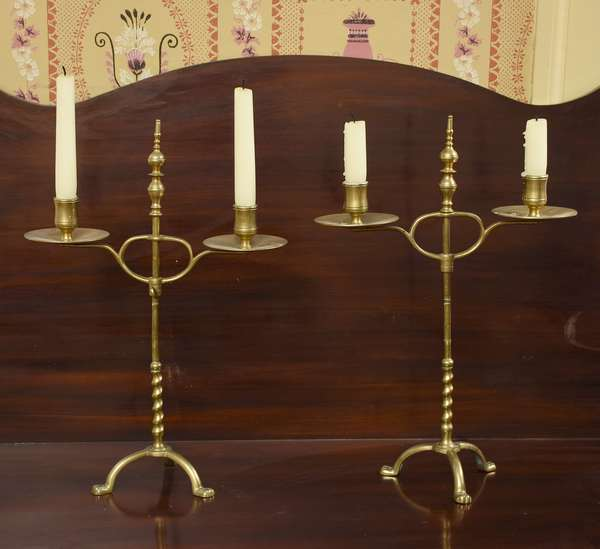Pair of 19th C. brass adjustable double branch candle holders, 16