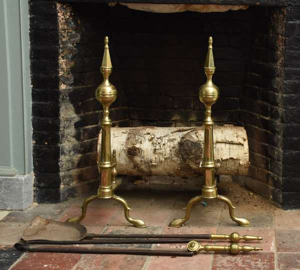 Fine pair of Federal steeple top andirons with tools, ca.1790-1800, andirons 27