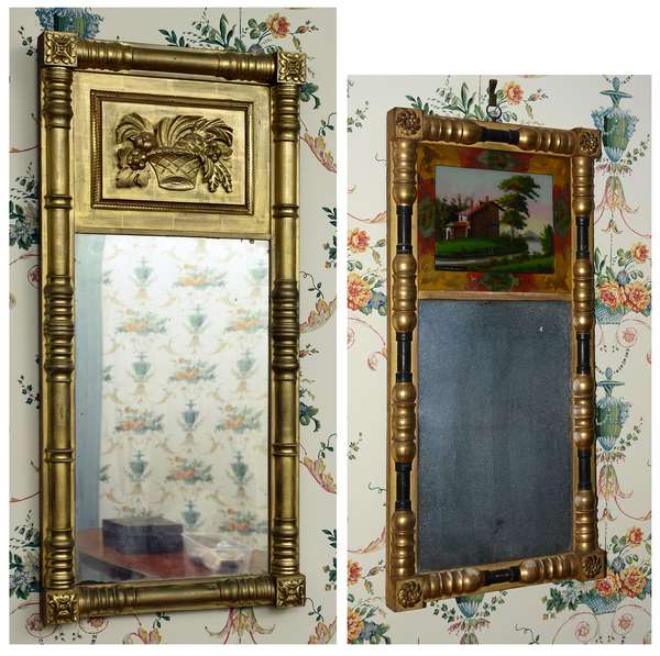 Two Federal New England split column wall mirrors, one with applied theorem basket tablet other with eglomise panel, original gilt surface, 36