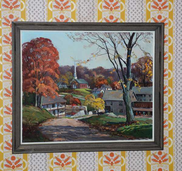 Oil on canvas, New England Autumn town scene, signed Otis Cook, 20