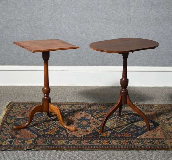 Good 18th C. Queen Anne square top cherry candlestand along with a Federal tilt top candlestand with round cherry top and tiger maple base, ca.1810-1820.