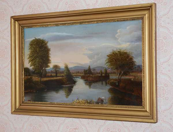 19th C. oil on canvas, likely Conway Meadows, N.H. in a period frame, unsigned 18