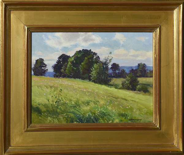 Oil on canvas, Summer Landscape, signed Bernard Corey, 9.5
