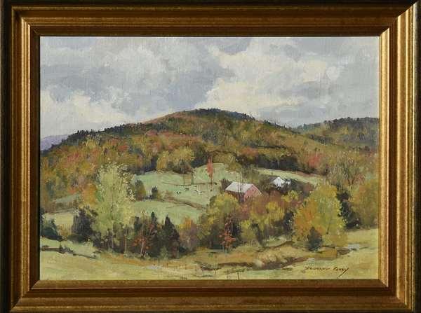 Oil on board, landscape in Autumn, signed Bernard Corey, 10