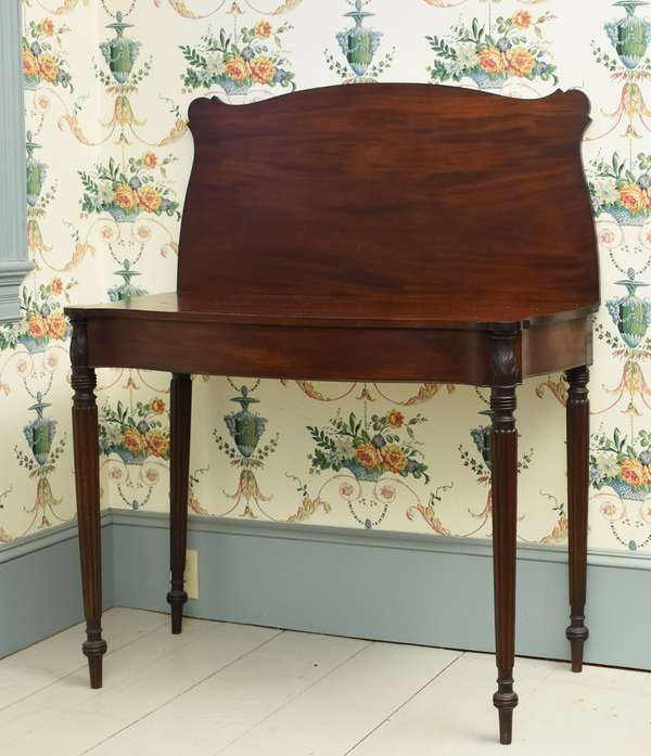 Federal mahogany New England card table with acanthus carved posts and reeded legs, ca.1820, 36.25