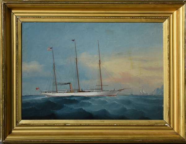 Fine 19th C. oil on board, three mast ship with steam stack, good detail with figures on board, flying the American flag, 15