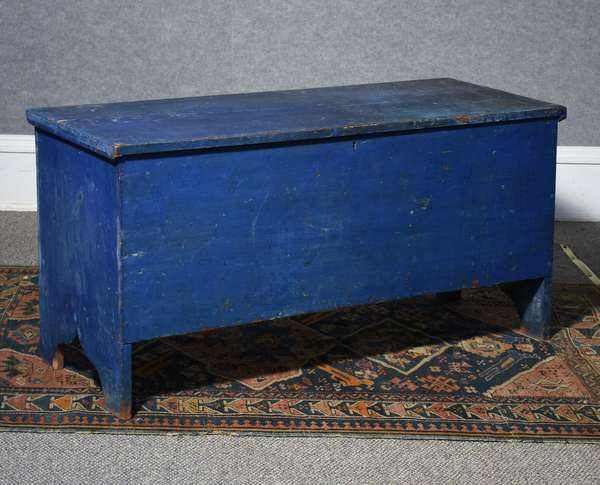 Early 19th C. 6 board blanket box with boot jack ends in old blue paint with original staple hinges, 43