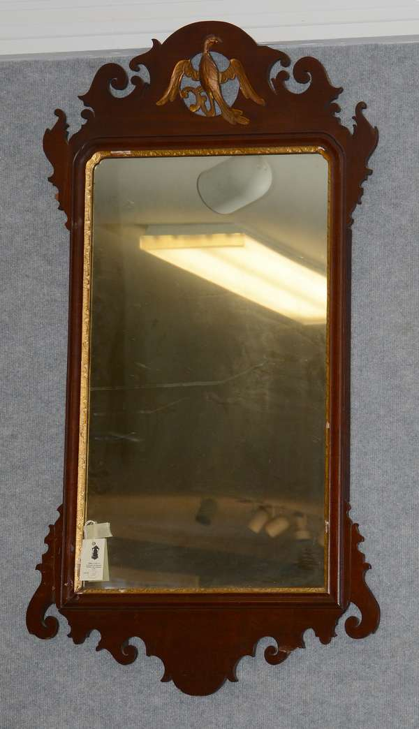 Large size 18th C. Chippendale wall mirror with Phoenix bird, pierced carved crest, 46
