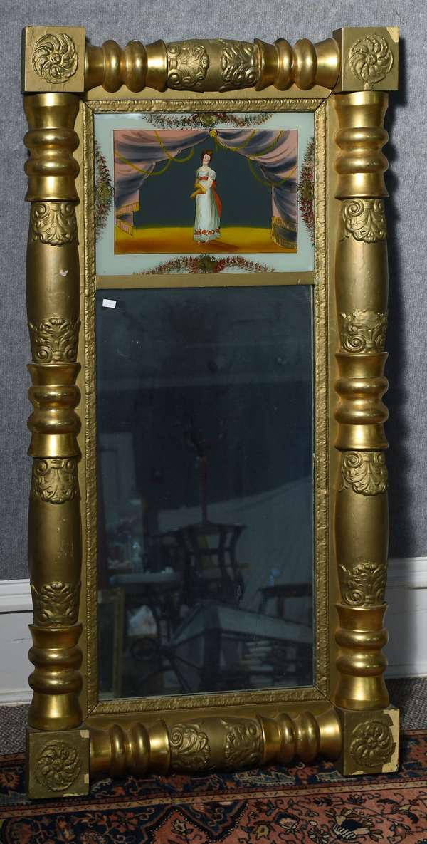 Good 19th C. split column Federal mirror with eglomise tablet of young woman, grand size, 47